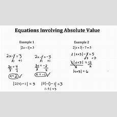 Equations Involving Absolute Value Pt 1 Youtube