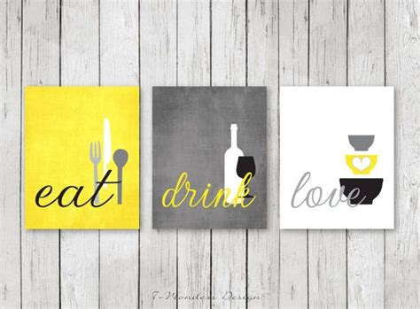 Kitchen Wall Art Print Set  Eat Drink Love  Yellow, Grey