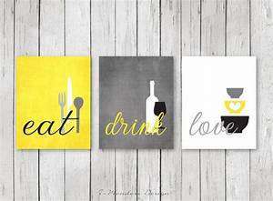 kitchen wall art print set eat drink love yellow grey With kitchen colors with white cabinets with yellow and gray canvas wall art