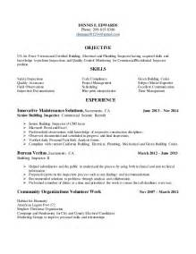 inspector resume objective exles resume for building inspection position in tracy california