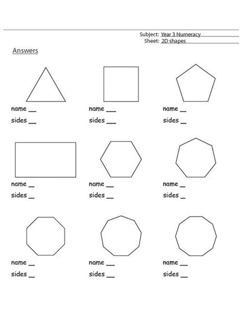 shapes and sides worksheets kiddo shelter