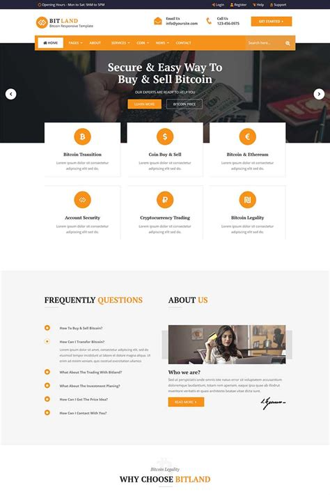 Bsite templates free premium freshdesignweb. Bitland - Bitcoin And Crypto Currency Website Template #73733