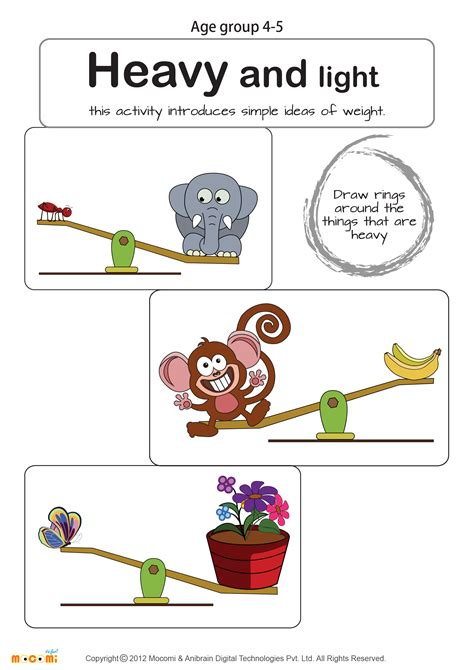 heavy  light worksheet math  kids  images