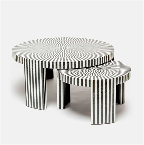 Whether using it as the perfect perch for your remote control or morning mug it brings a sophisticated and luxurious look to any setting. Marble Striped Nesting Coffee Table Sets - Mecox Gardens