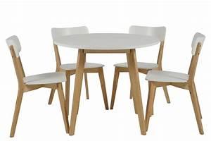 Table Scandinave Enfant : table ronde 4 chaises smogue bois blanc style scandinave mykaz ~ Teatrodelosmanantiales.com Idées de Décoration