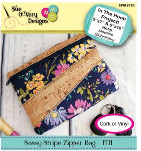 sassy stripe zipper bag inthehoop  sue overy