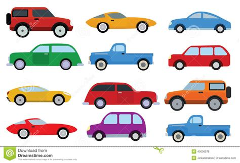 Simple Cars Collection Stock Vector. Illustration Of