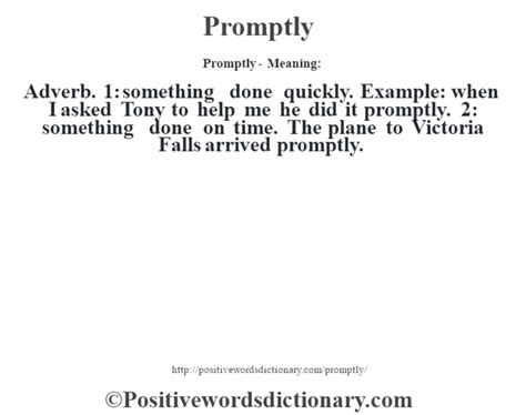 Promptly definition   Promptly meaning - Positive Words ...