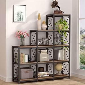 Tribesigns, 12, Shelves, Bookshelf, Industrial, Ladder, Corner, Bookshelf, 9, Cubes, Stepped, Etagere