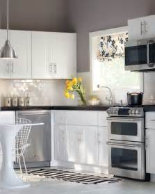 white cabinets subway tile gray walls perfection
