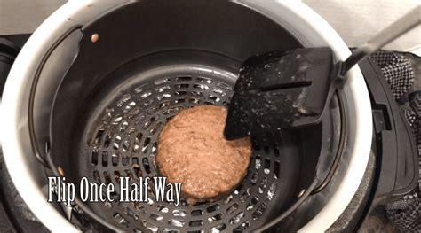 fryer air hamburger burgers flip frozen cooking eat ready cooked spatula interactions reader thymeandjoy