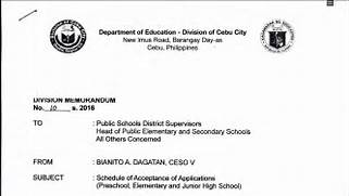 DepEd Cebu City 2016 Schedule Of Acceptance Of 9 Highschool Cover Letter Invoice Template Download How To Write A Letter Of Application To High School 25 Application Letter Templates Format Free Premium