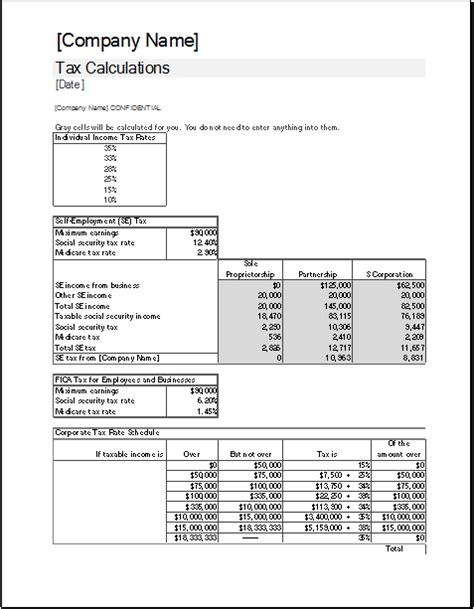 corporate tax calculator template  excel excel templates