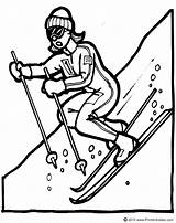Coloring Ski Mountains Template Drawing Skiing Skier Downhill Sketch Dessin sketch template