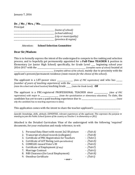 Cover letter samples and templates to inspire your next application. Sample letter-of-application-teacher-1-in-elem-jhs