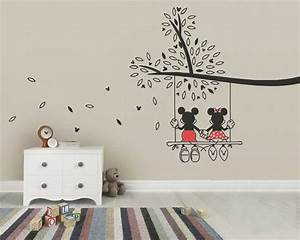 Micky Maus Wandtattoo : mickey mouse minnie tree swing wall sticker wall art decal made from vinyl childrens bedroom ~ Orissabook.com Haus und Dekorationen