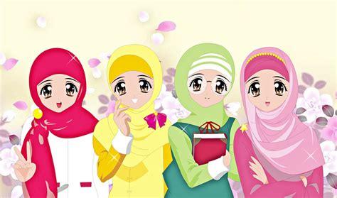 gambar anime muslim hitam putih wallpaper gambar kartun muslimah keren terbaru deloiz