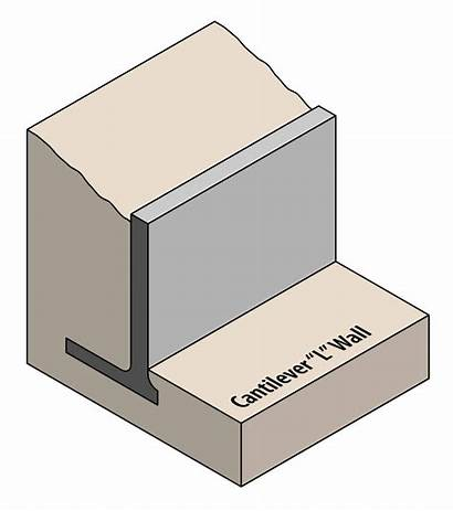 Wall Retaining Cantilever Diagram Cross Vector Sectional