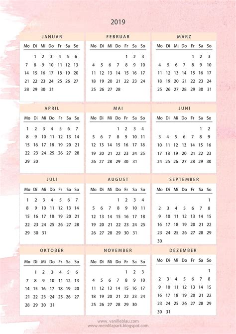 printable calendar pink creme watercolor freebie