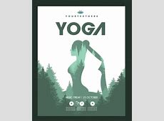 Yoga poster exercising woman tree decoration silhouette