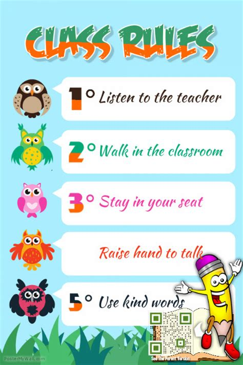 classroom rules template class rules poster theme animal kids and kindergarten