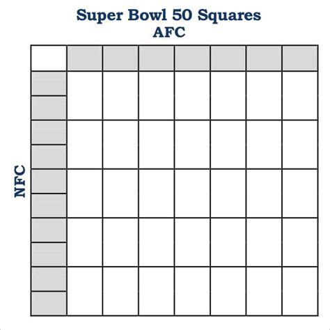 super bowl squares template  premium templates