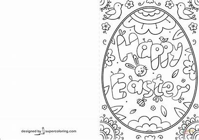 Easter Cards Coloring Printable Card Happy Pages