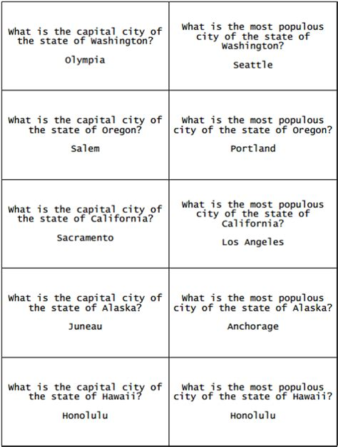 printable flashcards   fifty states questions