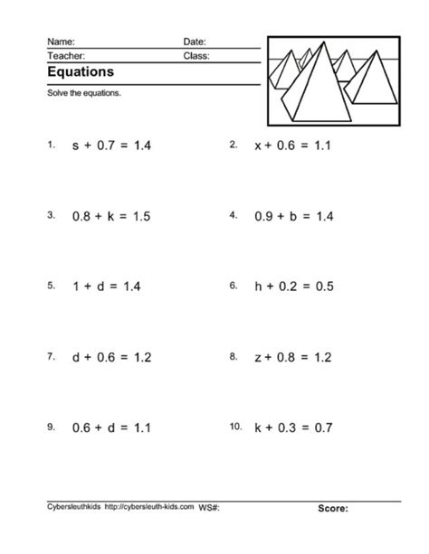 solve for variable worksheet worksheets for all