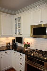 Beveled Subway Tile Backsplash Kitchen Traditional With