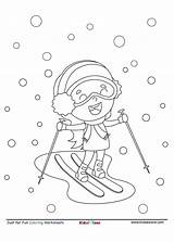 Coloring Skiing Fun Cartoon Snow Sheet Kidzezone Worksheet Pdf Fine Little sketch template