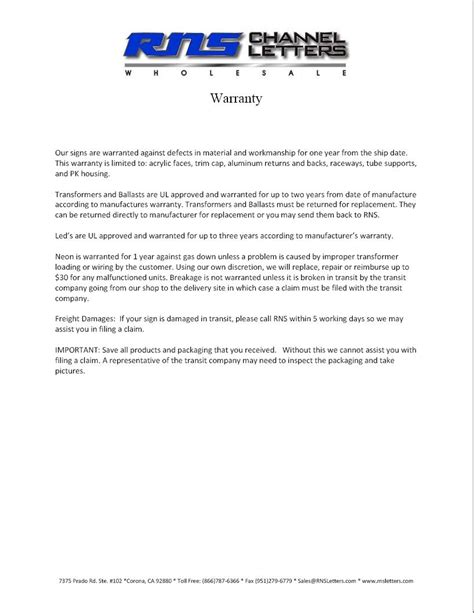 Letter Of Warranty - Free Printable Documents