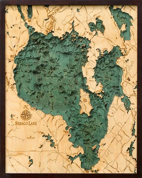 sebago lake nautical topographic art bathymetric wood chart