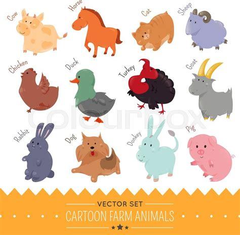 set  cute cartoon farm animal icon vector illustration