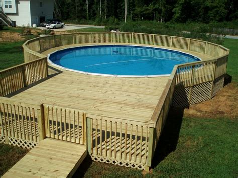 swimming pool decking above ground pool deck pictures