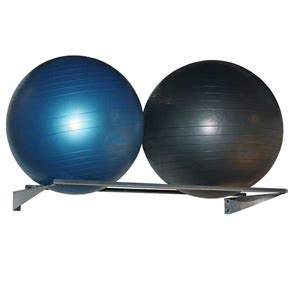 wall mounted double exercise ball rack holds  balls