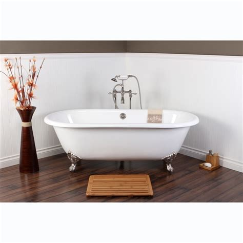 white cast iron double ended   clawfoot bathtub