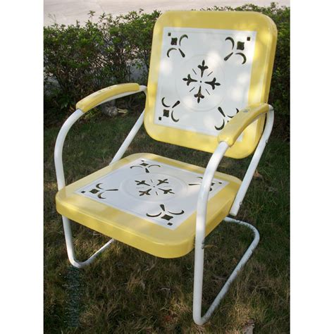 retro metal outdoor chair white yellow sled base