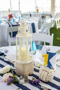 nautical centerpieces with lighthouses and monkey39s fist With nautical wedding table decor