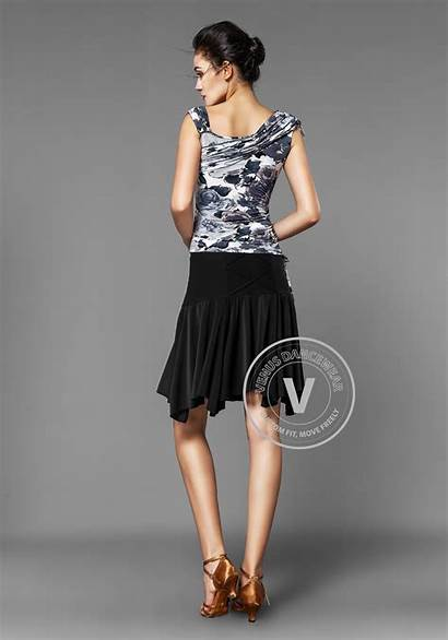 Dance Camisole Skirt Latin Floral Ruffle Straps