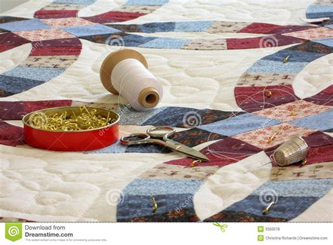 Quilt and quilting tools stock photo. Image of ring, patchwork   3350078