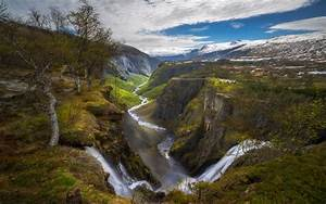 Nature, Landscape, Waterfall, Canyon, River, Norway, Trees