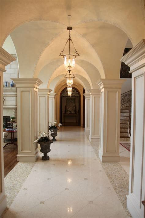 italian renaissance groin vaulted gallery foyer design