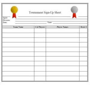 Tournament Sign Up Sheet Template