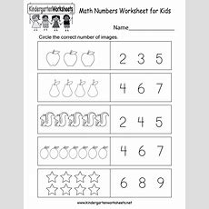 Math Numbers Worksheet For Kids  Free Kindergarten Math Worksheet For Kids