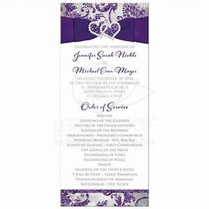 Winter Wonderland Wedding Program Purple, Silver, White