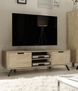 Meuble Tv Metal : meuble tv 2 portes 2 niches couleur bois ~ Teatrodelosmanantiales.com Idées de Décoration