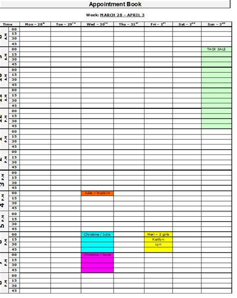 printable appointment book book template calendar