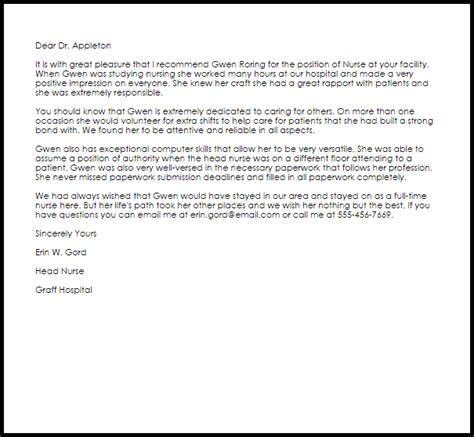nurse recommendation letter  letter samples