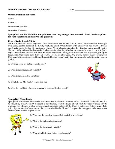 scientific method story worksheet answer key scientific method control and variables worksheet